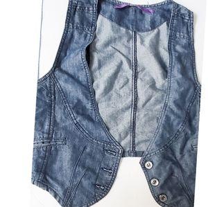 Pink crop jean vest button enclosure XL
